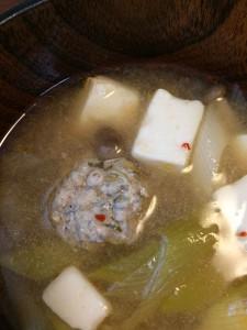第四回チアフルランチ会・豆腐と長ネギとチア肉団子のキムチ風味味噌汁