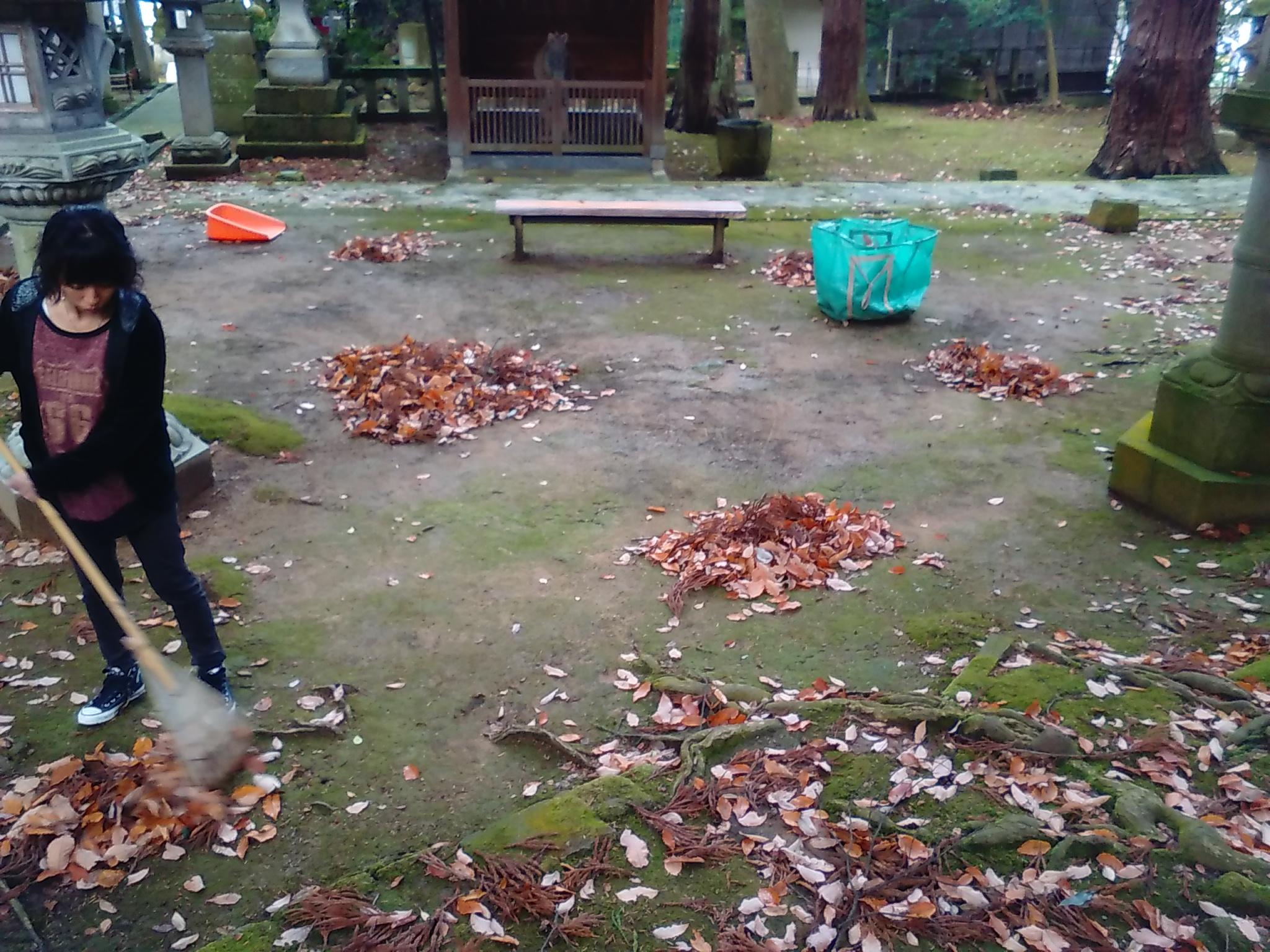 2015年12月13日狭野神社禊カフェ落ち葉を集めている3